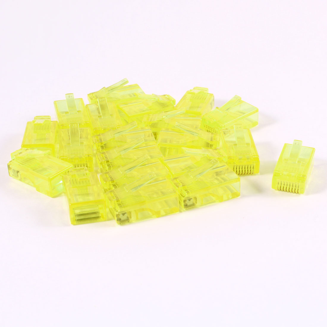 20 Pcs Yellow Plastic Shell RJ45 8P8C Modular Jack End Network Connector