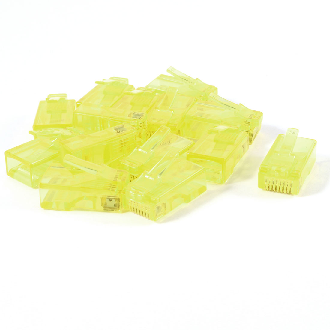 12 Pcs Yellow Plastic Shell RJ45 8P8C Modular Plug End Network Connector