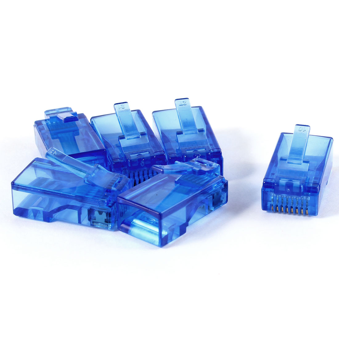6 Pcs Dark Blue Plastic Shell RJ45 8P8C Modular Jack End Network Connector