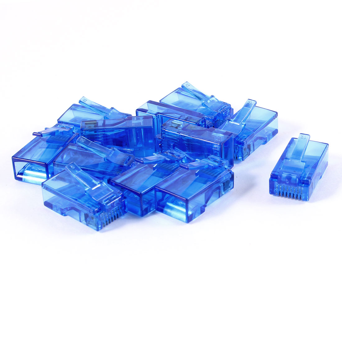12 Pcs Dark Blue Plastic Shell RJ45 8P8C Modular Jack End Network Connector