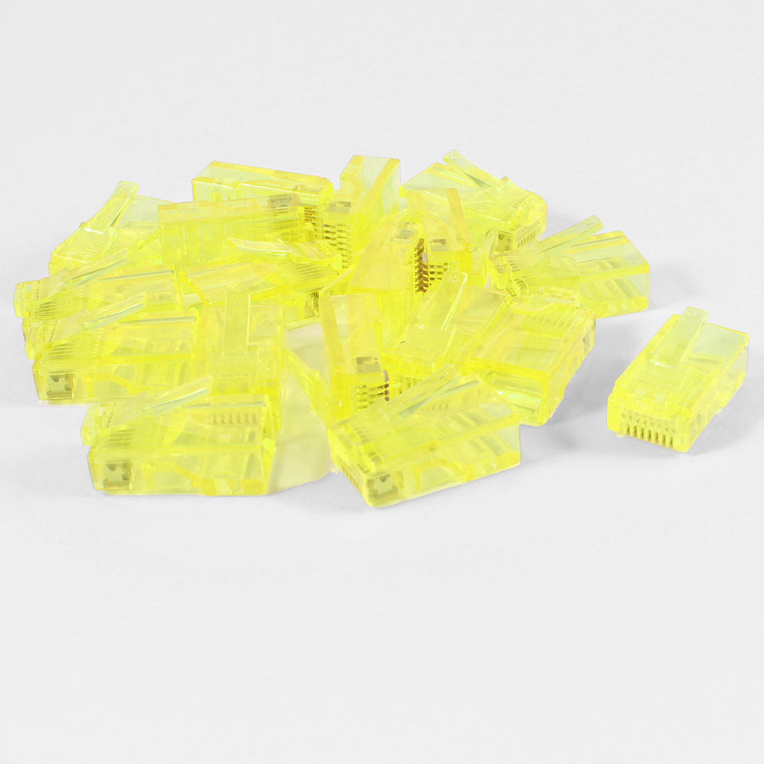18 Pcs Yellow Plastic Shell RJ45 8P8C Modular Jack End Network Connector