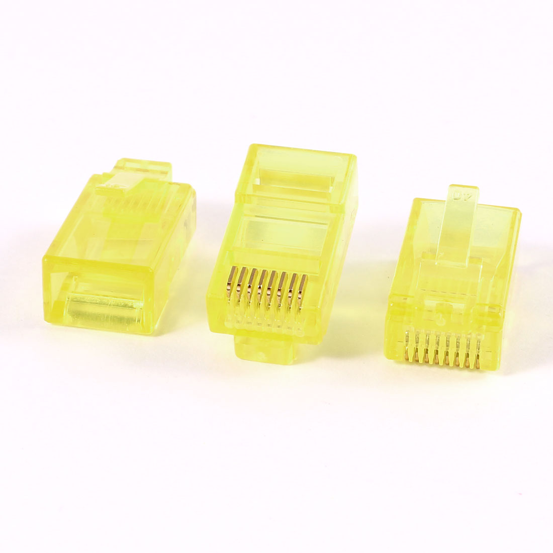 3 Pcs Yellow Plastic Shell RJ45 8P8C Modular Jack End Network Connector