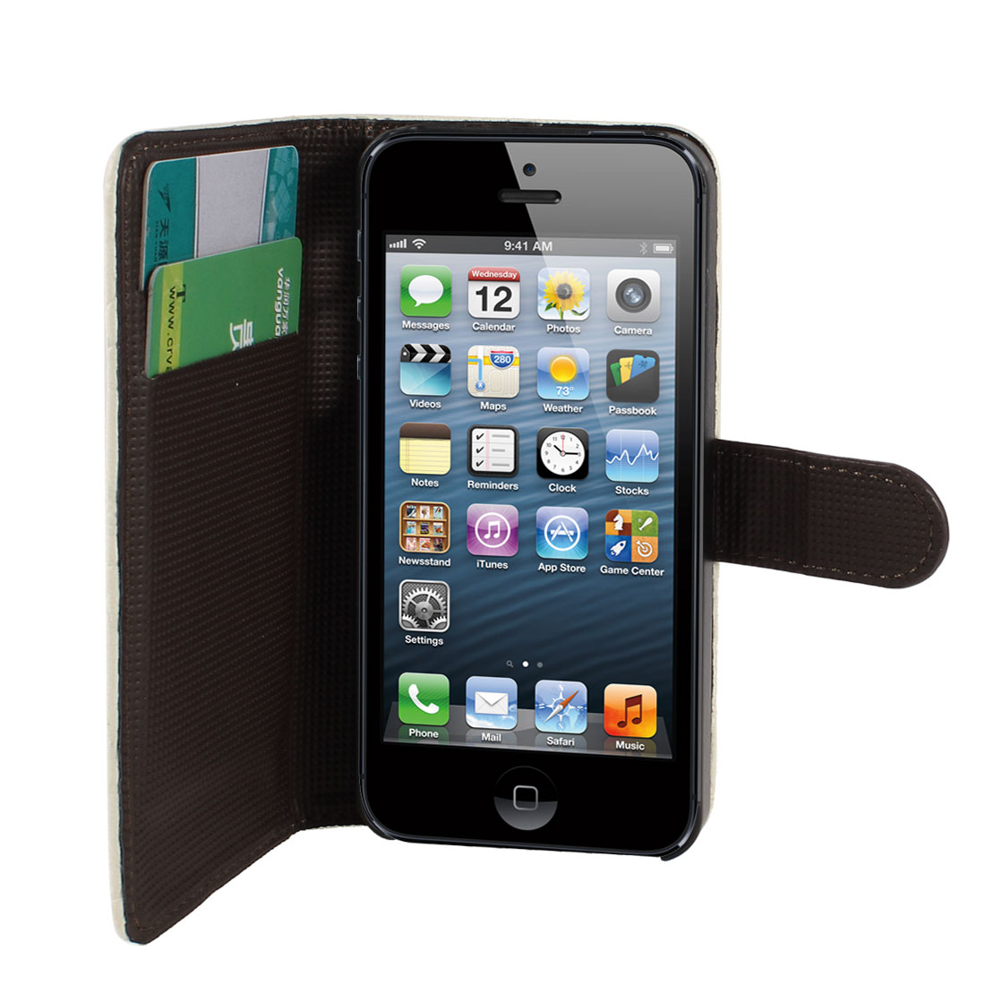 Off White Faux Leather Cartoon Pattern Flip Case Cover Card Holder for iPhone 5 5G