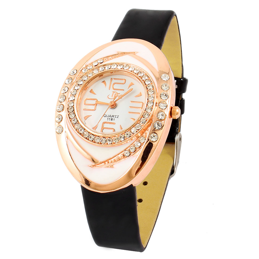 Glitter Rhinestone Gold Tone White Oval Shape Analog Quartz Watch Gift for Lady