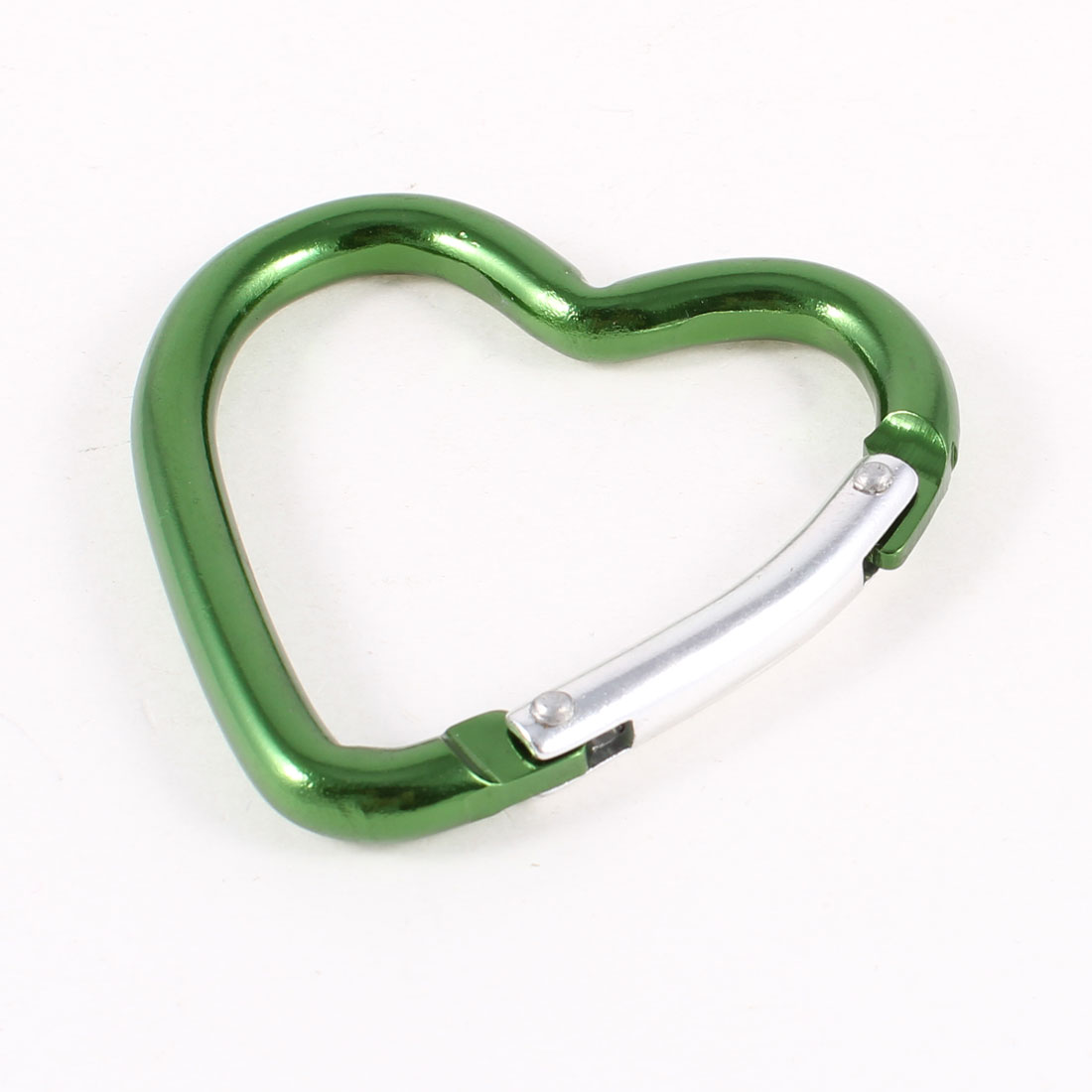 Green Aluminum Alloy Heart Shape Camping Hiking Carabiner Hook Key Holder