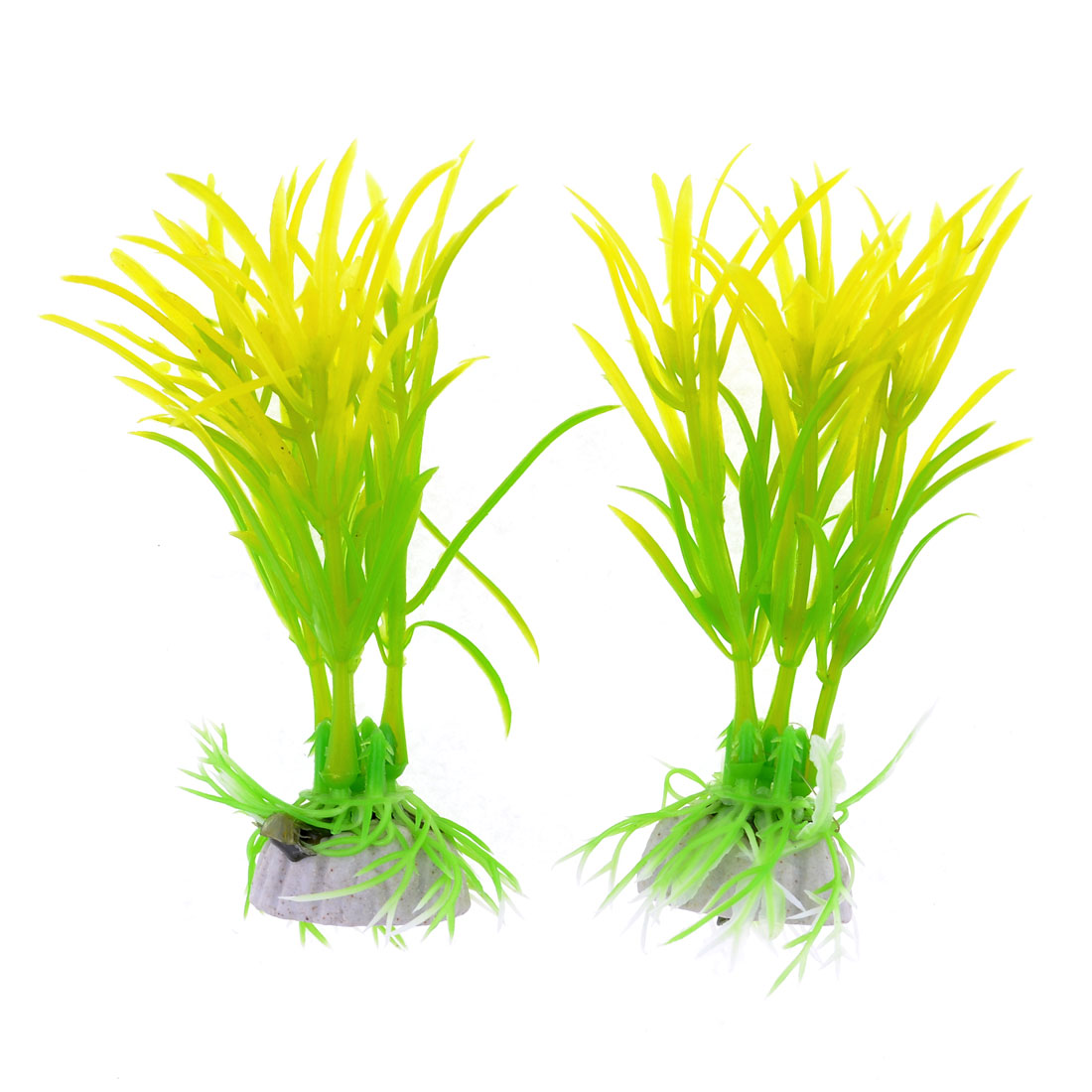 2 Pcs Yellowgreen Plastic Aquascaping Plant Grass for Fish Tank Aquarium