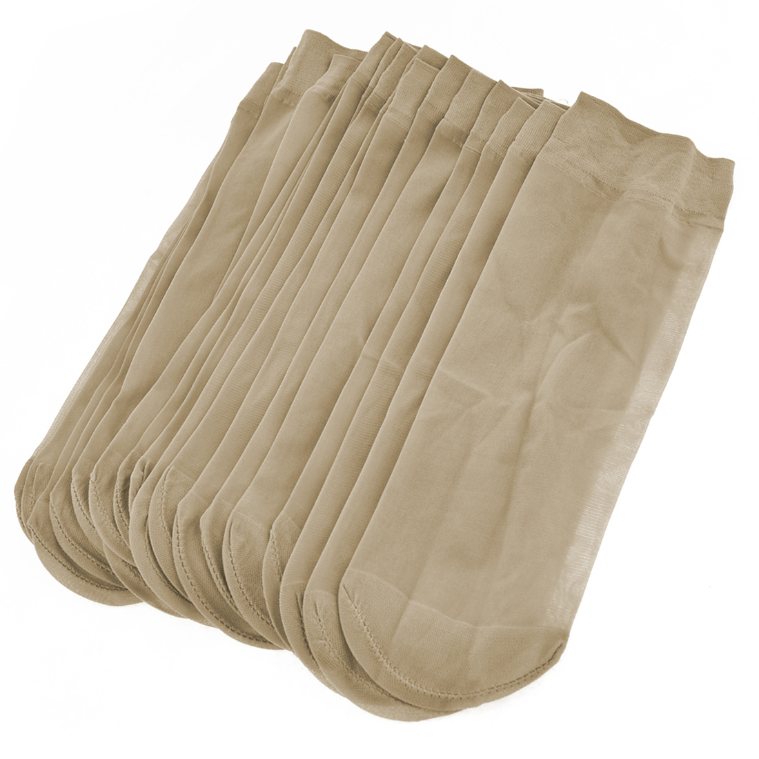 10 Pairs Beige Stretchy Short Sheer Socks for Ladies