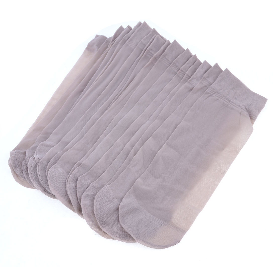 Ladies Summer 10 Pairs Rosebrown Stretchy Sheer Socks