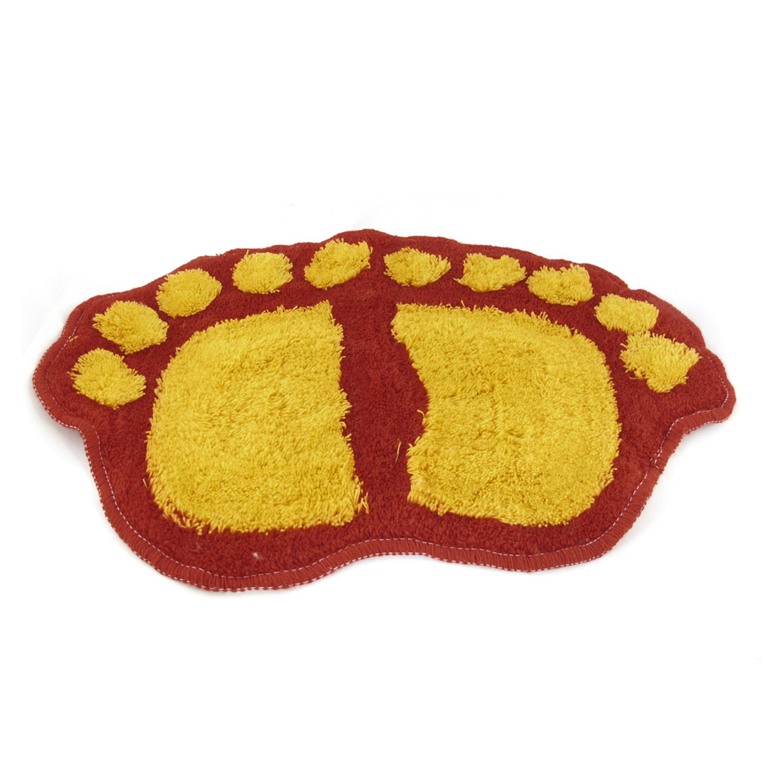 Red Yellow Plush Foot Pattern Water Absorbent Dry Mat Floor Pad for Bathroom