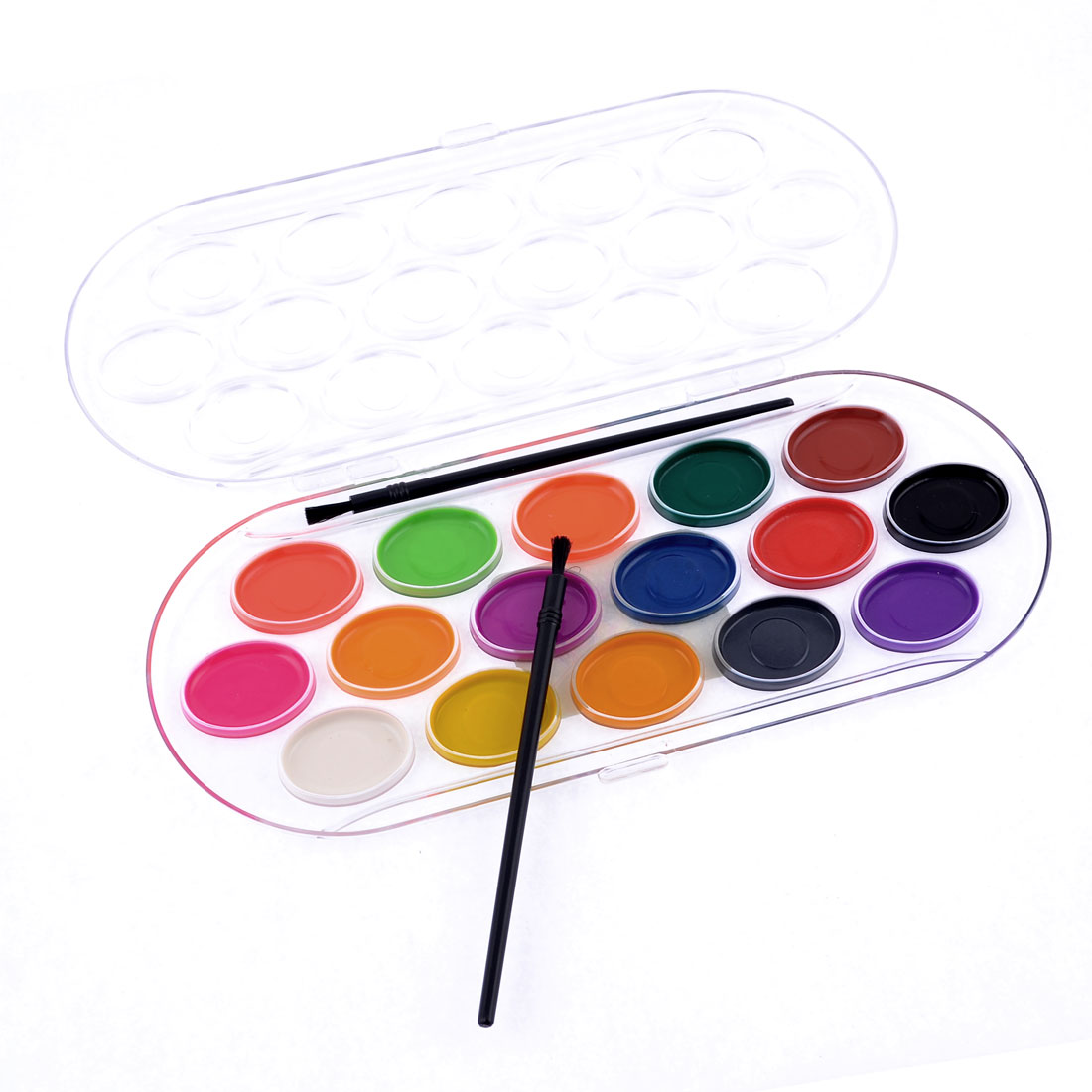 Washable 16 Assorted Colors Watercolors Paint w 2 Black Brush