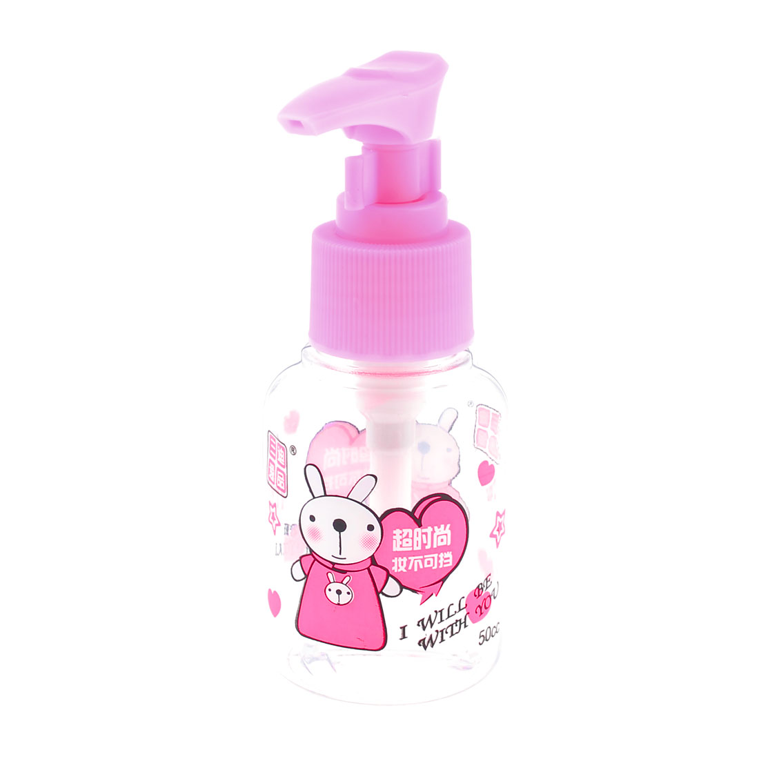 Pink Clear Cartoon Rabbit Print Makeup Cream Press Bottle Empty Container 60ML