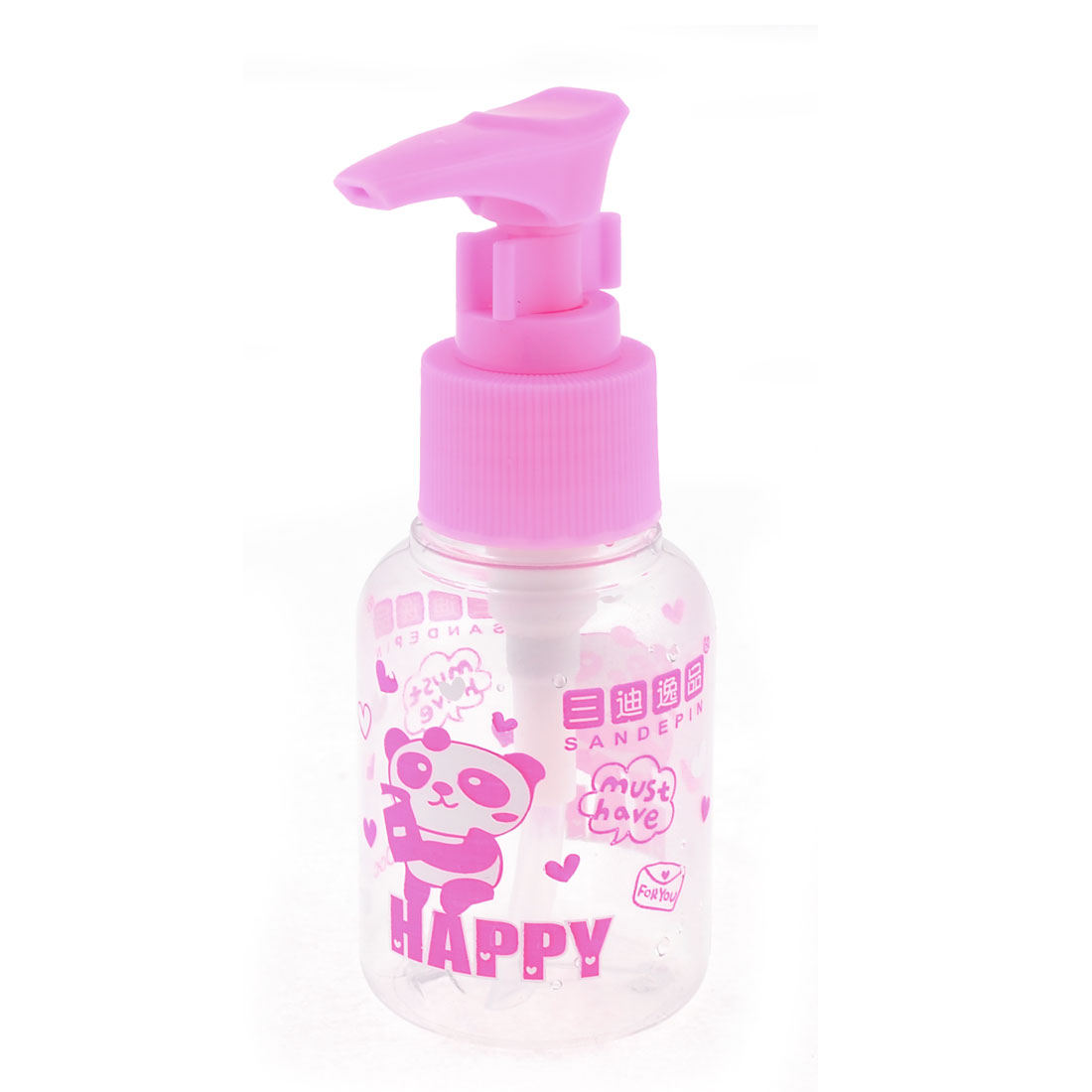 Pink Clear Heart Print Makeup Cream Press Bottle Empty Container 60ML