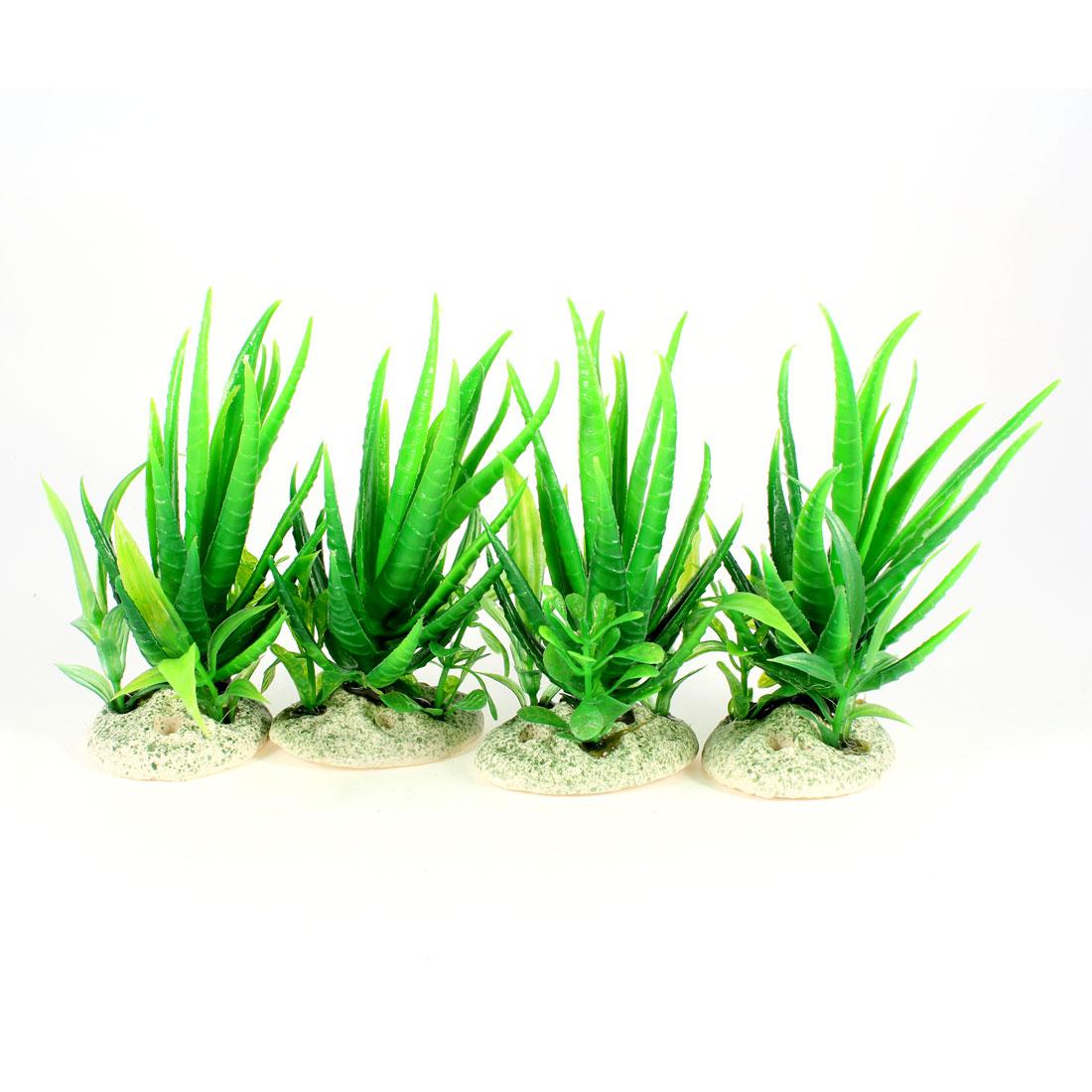 4Pcs Aquascaping 12cm Green Plastic Aloe Plant Grass for Fish Tank