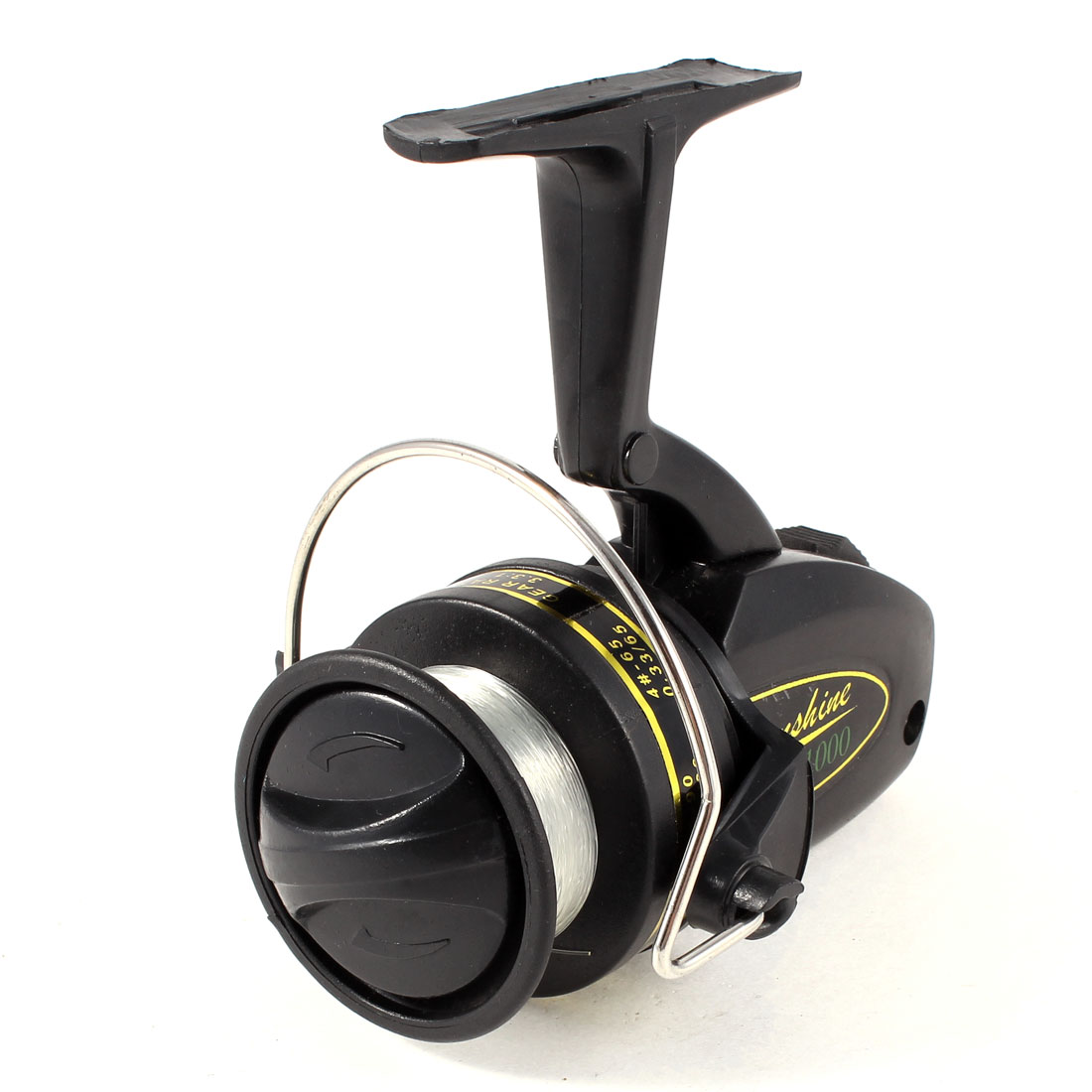 Black Rotating Handle Gear Ratio 3.3:1 Fishing Spinning Winding Reel w Line