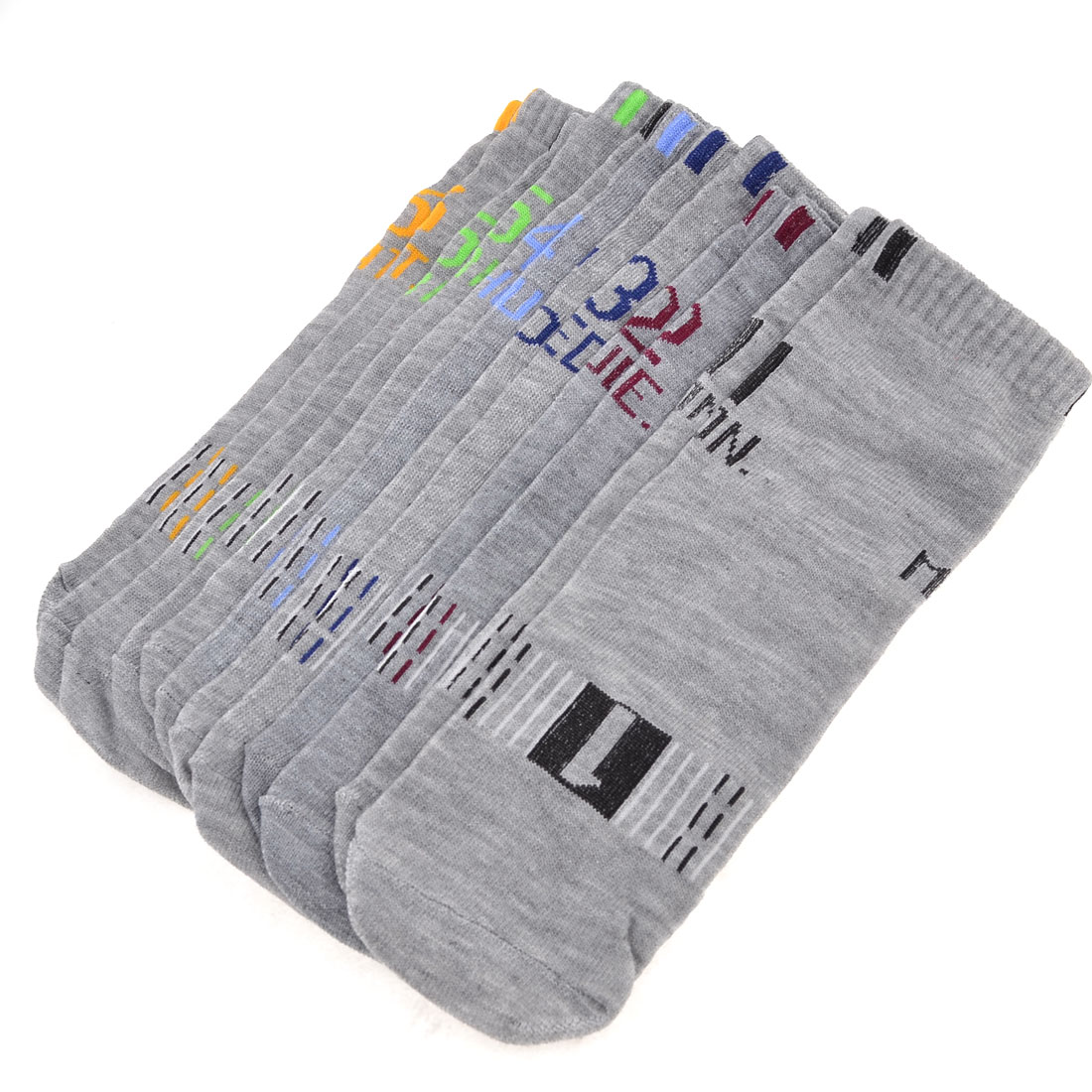 6 Pair Multicolor Numbers Pattern Stretchy Stockings Week Socks Gray for Man