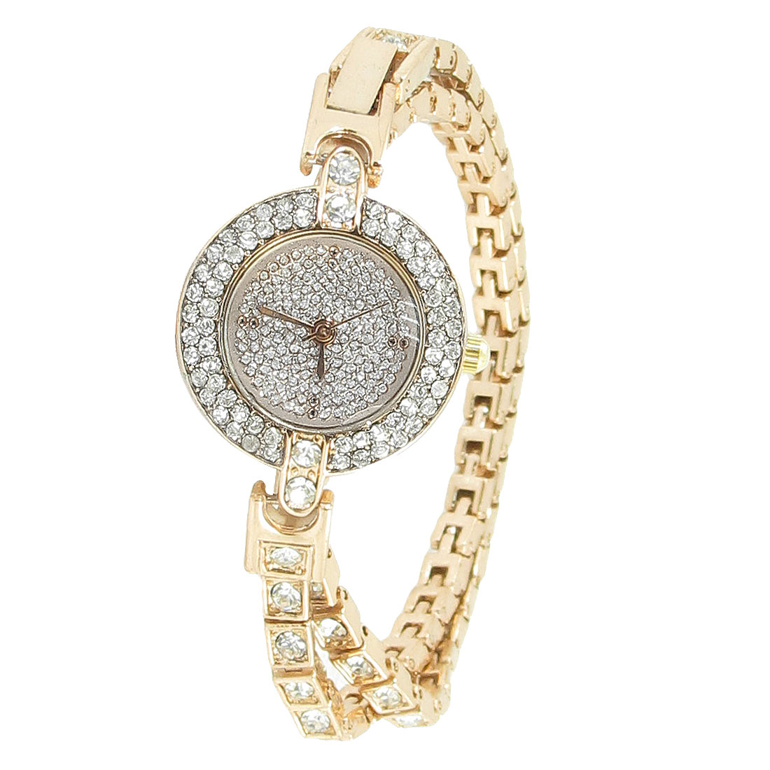 Women Gold Tone Glitter Rhinestones Decor Numberless Dial Chain Bracelet Watch