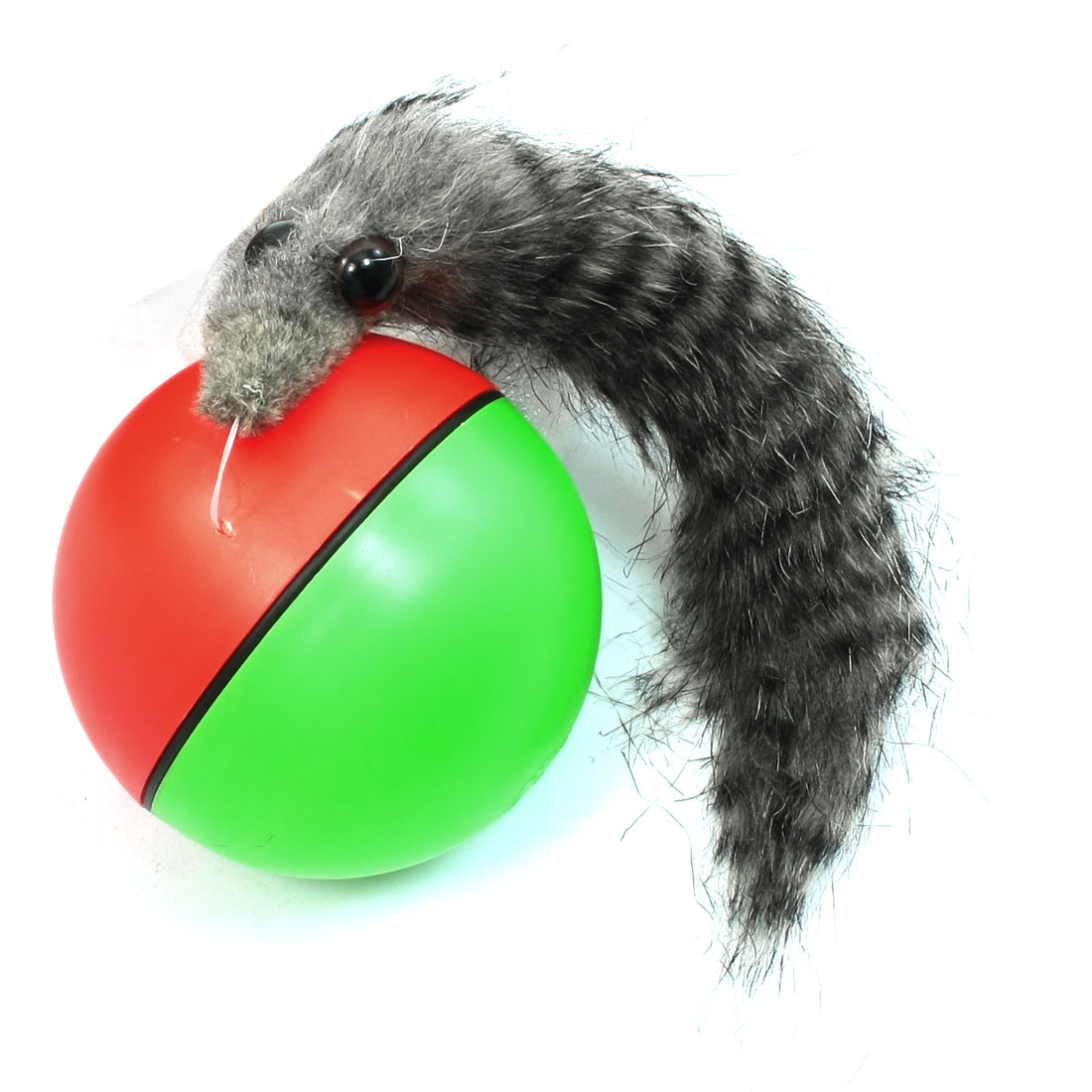 Red Green Plastic Ball Faux Fur Beaver Rolling Playing for Kids