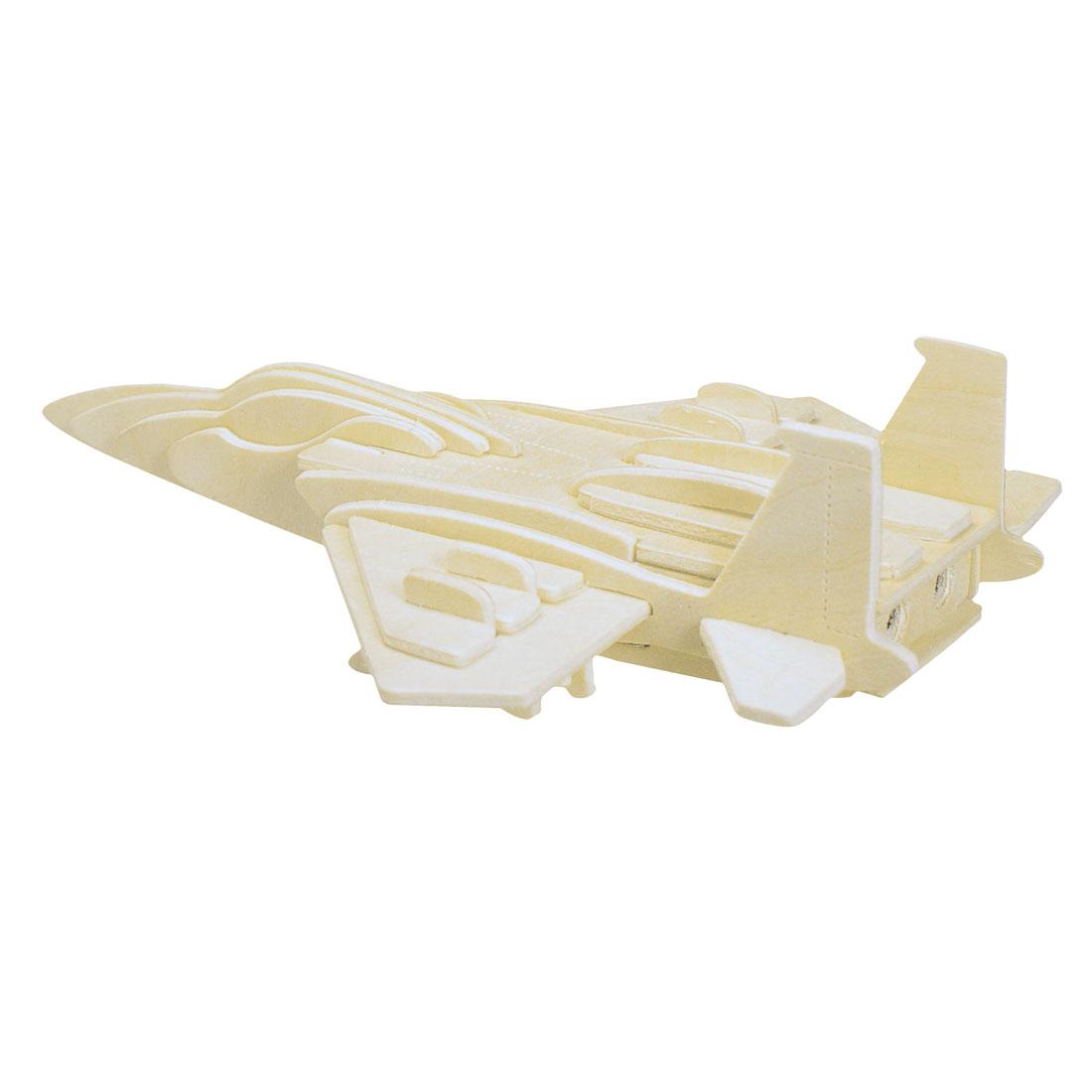 Children DIY 3D Puzzle F-15 Fighter Plane Model Wooden Toy Woodcraft Construction Kit