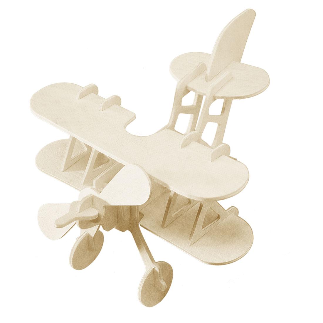 Kids DIY Lover 3D Puzzle Bi-Plane Model Woodcraft Kit Intelligent Toy