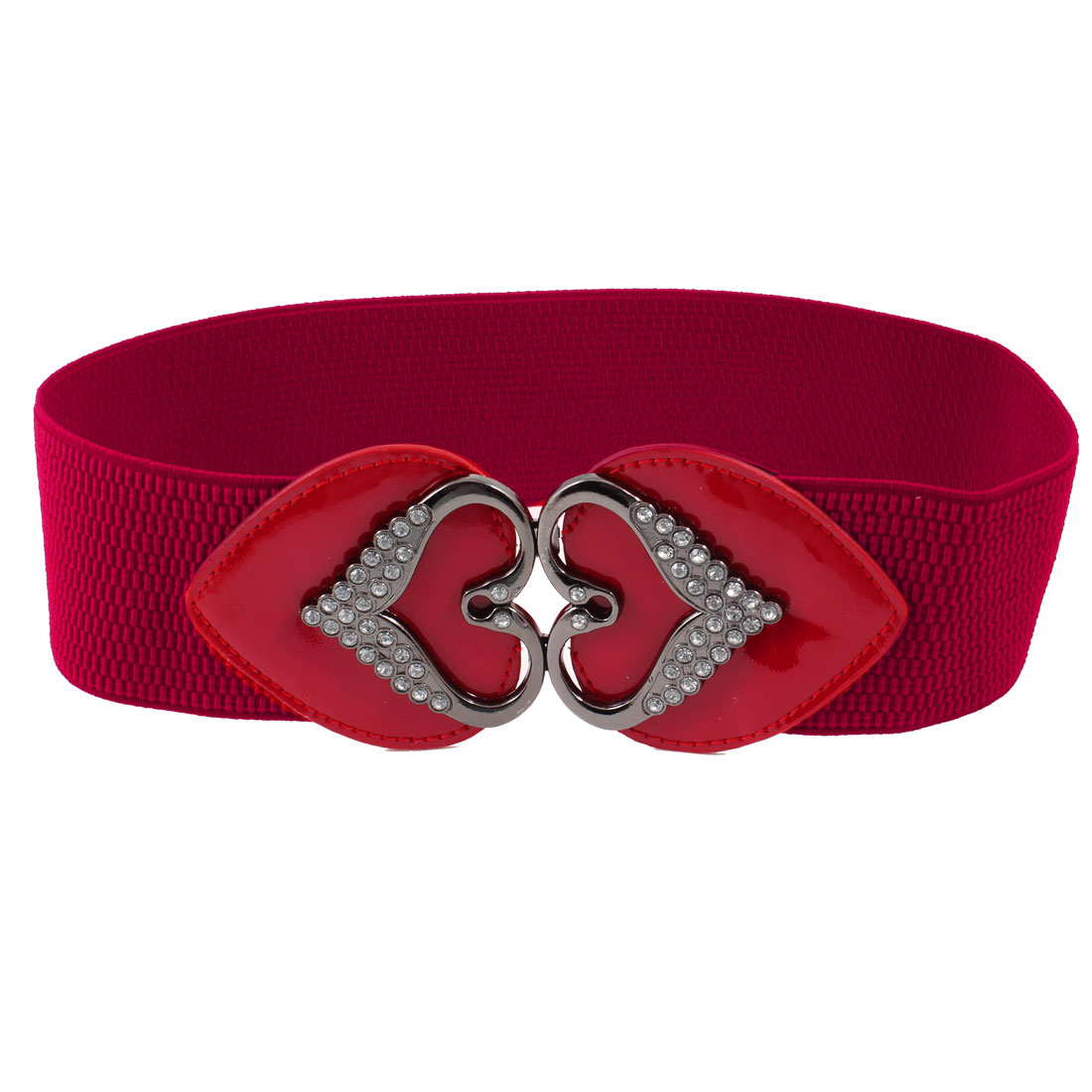 Rhinestone Accent Interlocking Buckle Stretch Waistbelt Cinch Belt Red for Lady