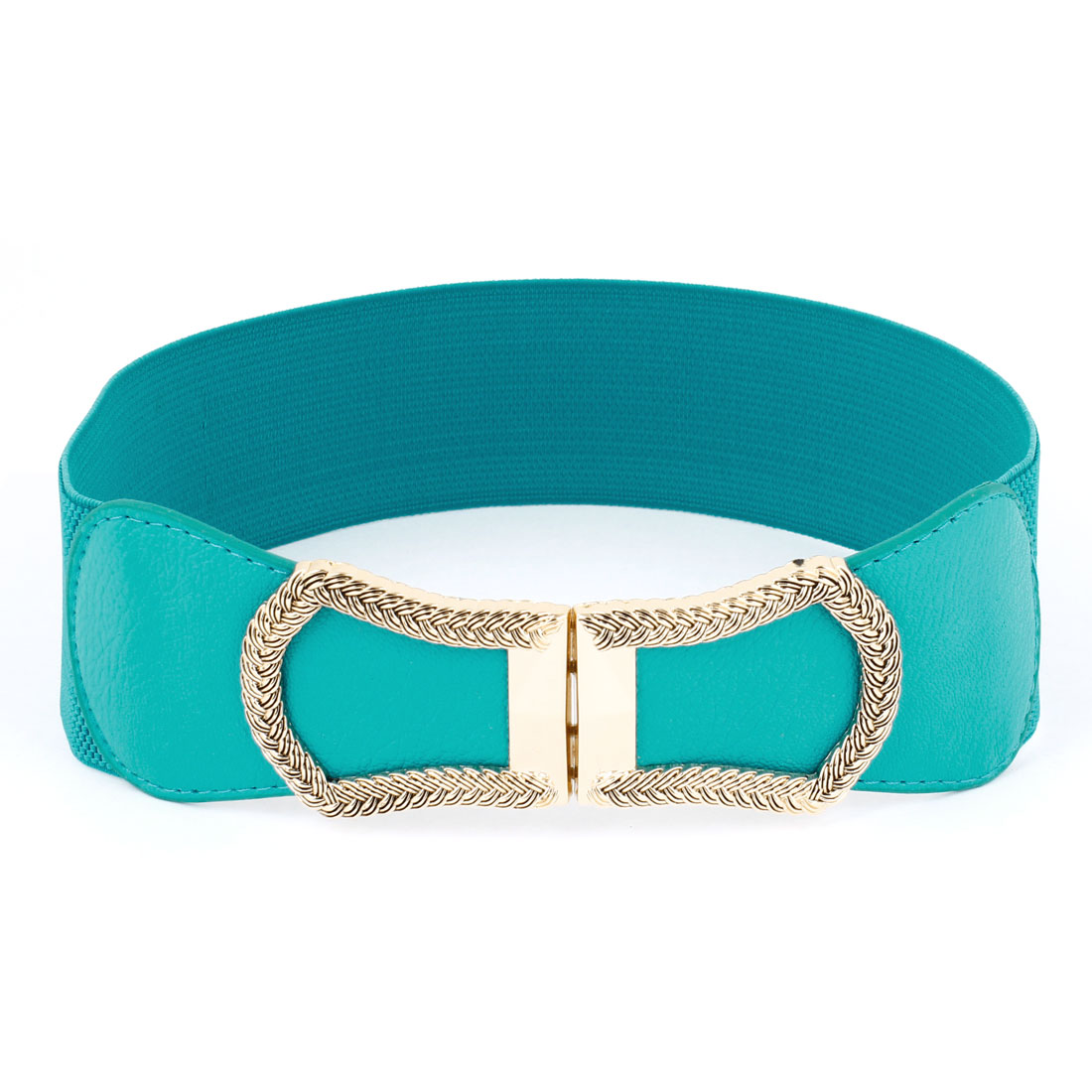 Woman Lady Metal Knitted Interlocking Buckle Stretchy Cinch Waist Belt Cyan