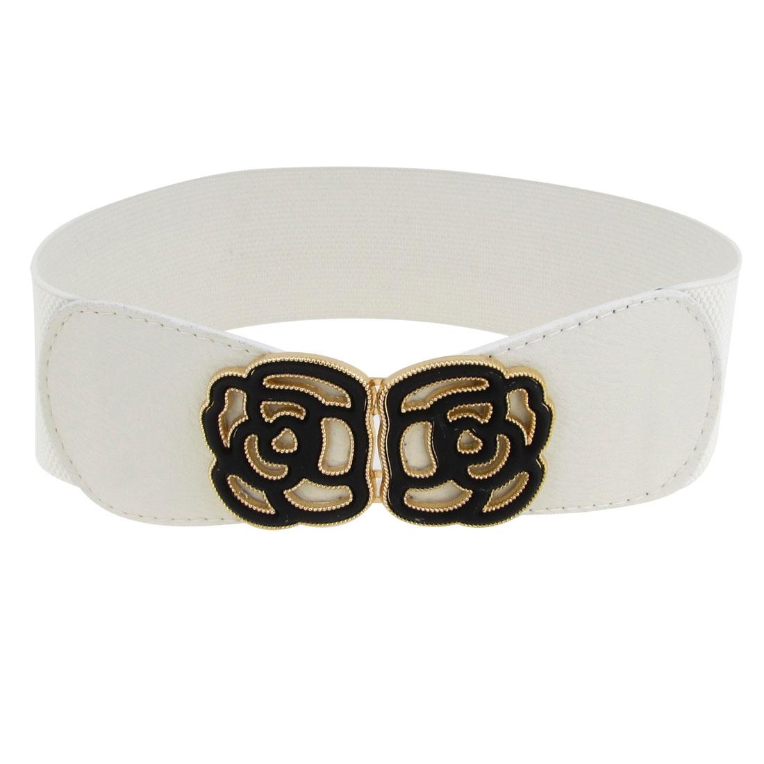 6cm Wide Band Flower Decor Interlock Buckle Stretchy Waistband Waist Belt White