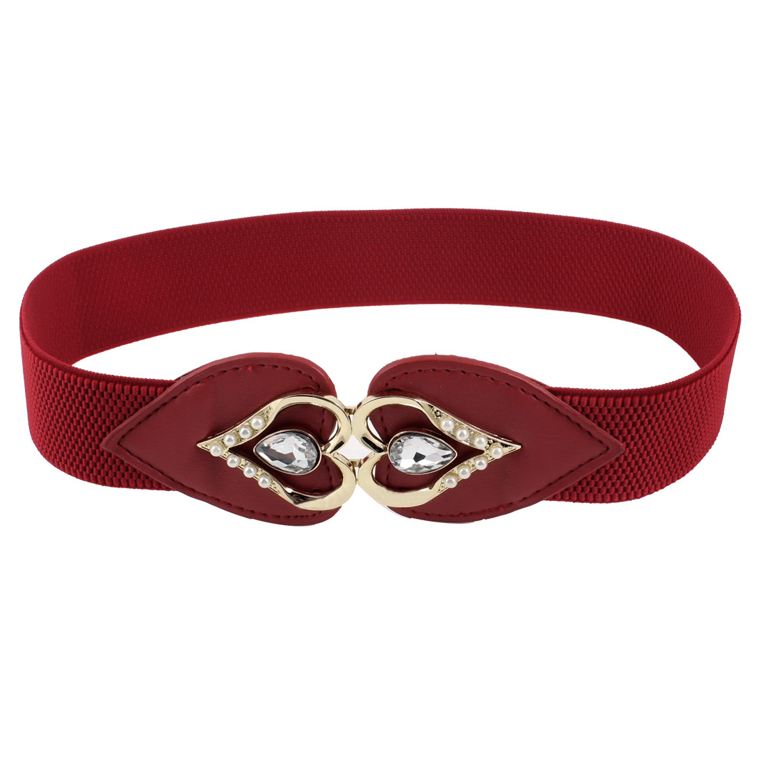 Women Metal Heart Shape Detailing Buckle Stretchy Waistbelt Band Red