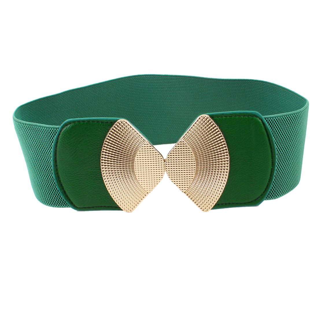 Lady Green Metal Interlock Buckle Elastic Waist Band Belt