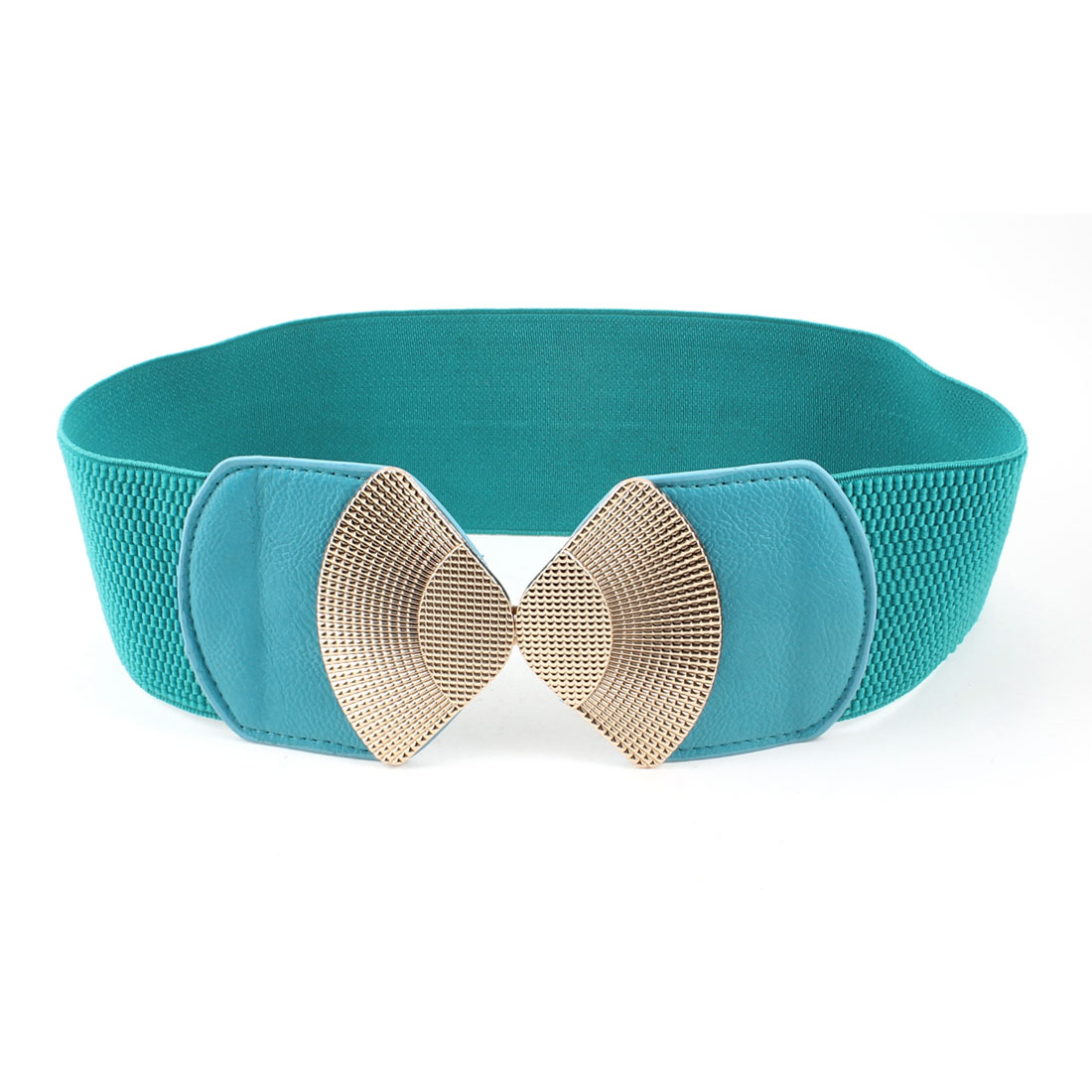 Lady Teal Green Metal Interlock Buckle Elastic Waist Band Belt