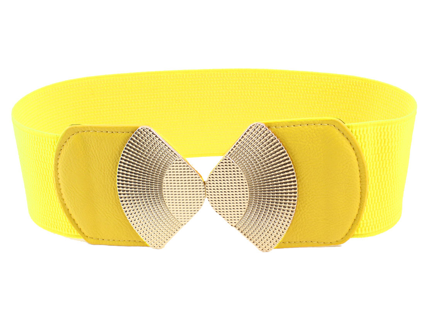 Women Metal Detailing Buckle Stretchy Waistbelt Band Yellow