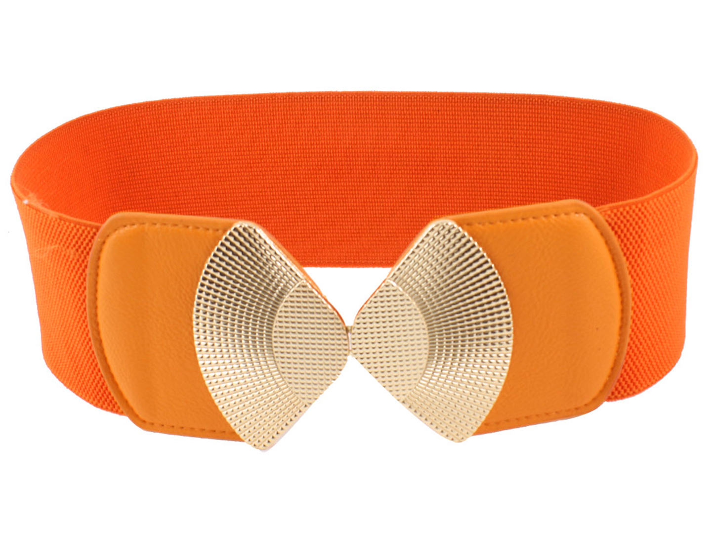 Lady Interlocking Buckle Elastic Orange Elastic Cinch Belt Band