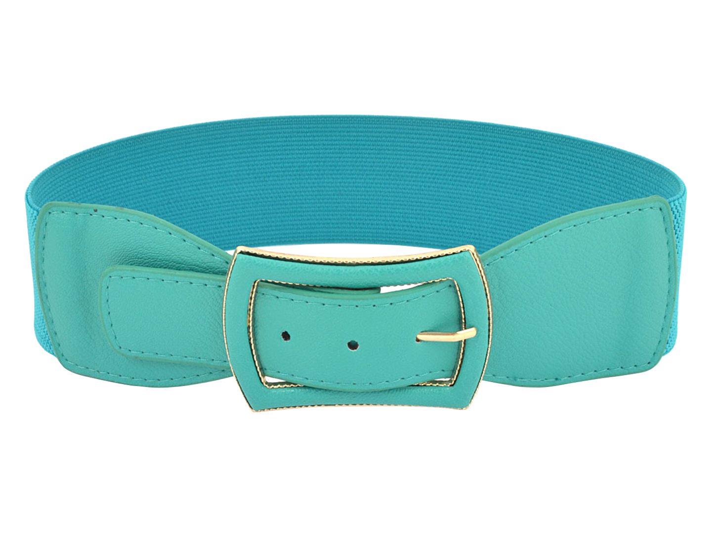 Lady Single Pin Buckle Faux Leather 6cm Width Stretchy Waist Belt Teal Blue