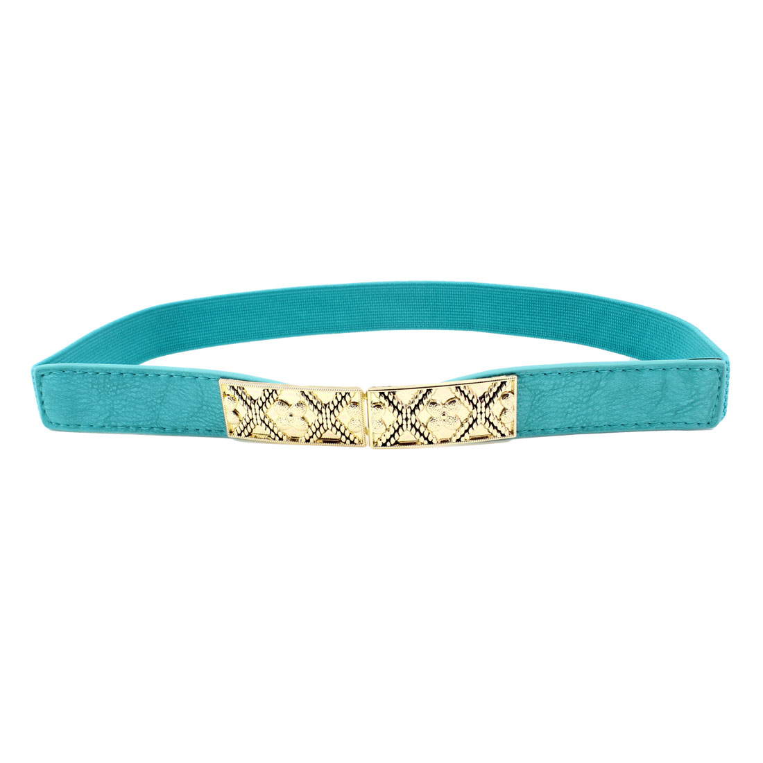 Faux Leather Elastic Fabric Interlock Buckle Waist Cinch Belt Teal Blue for Lady