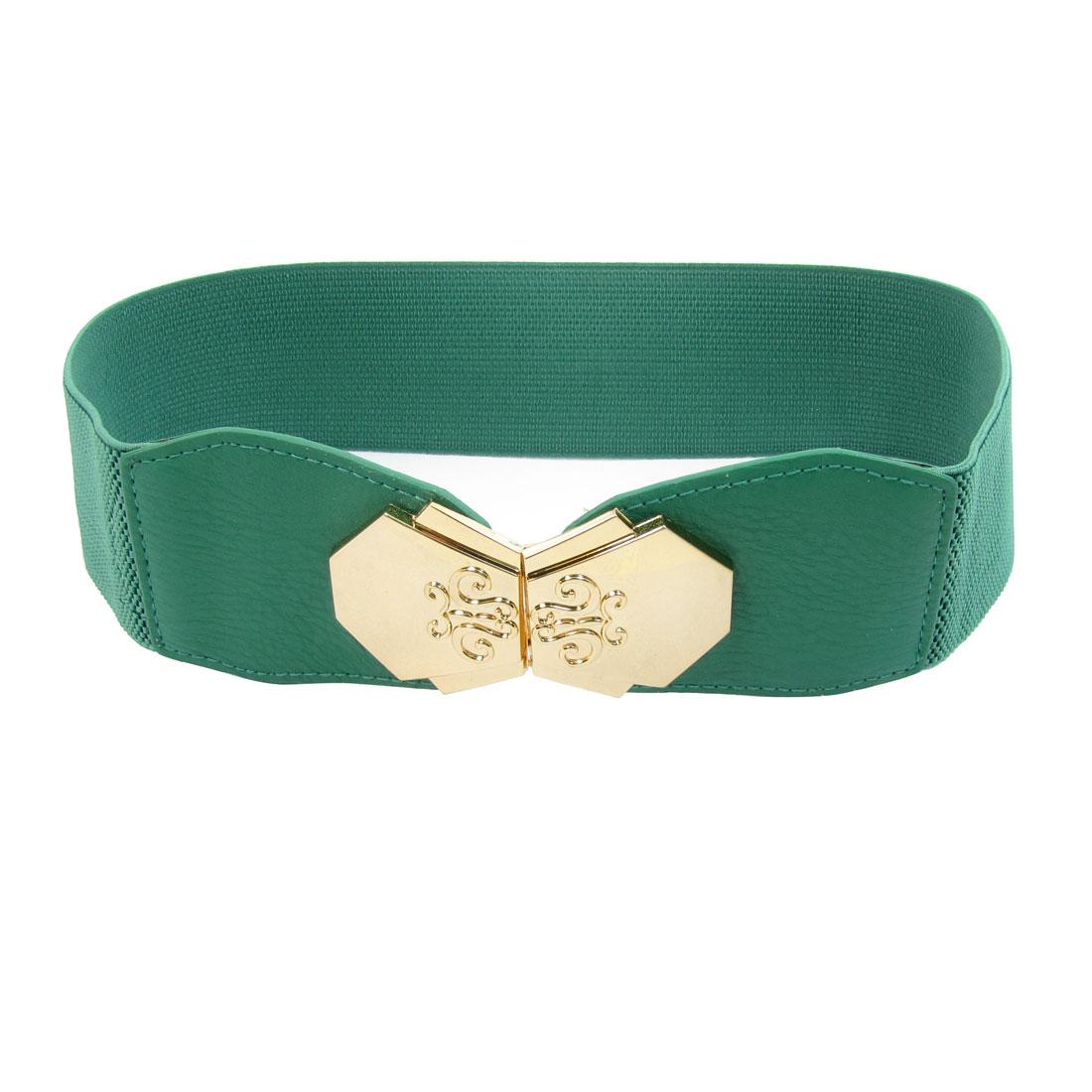 Women Green Faux Leather Front Interlock Buckle 6cm Width Stretchy Cinch Belt