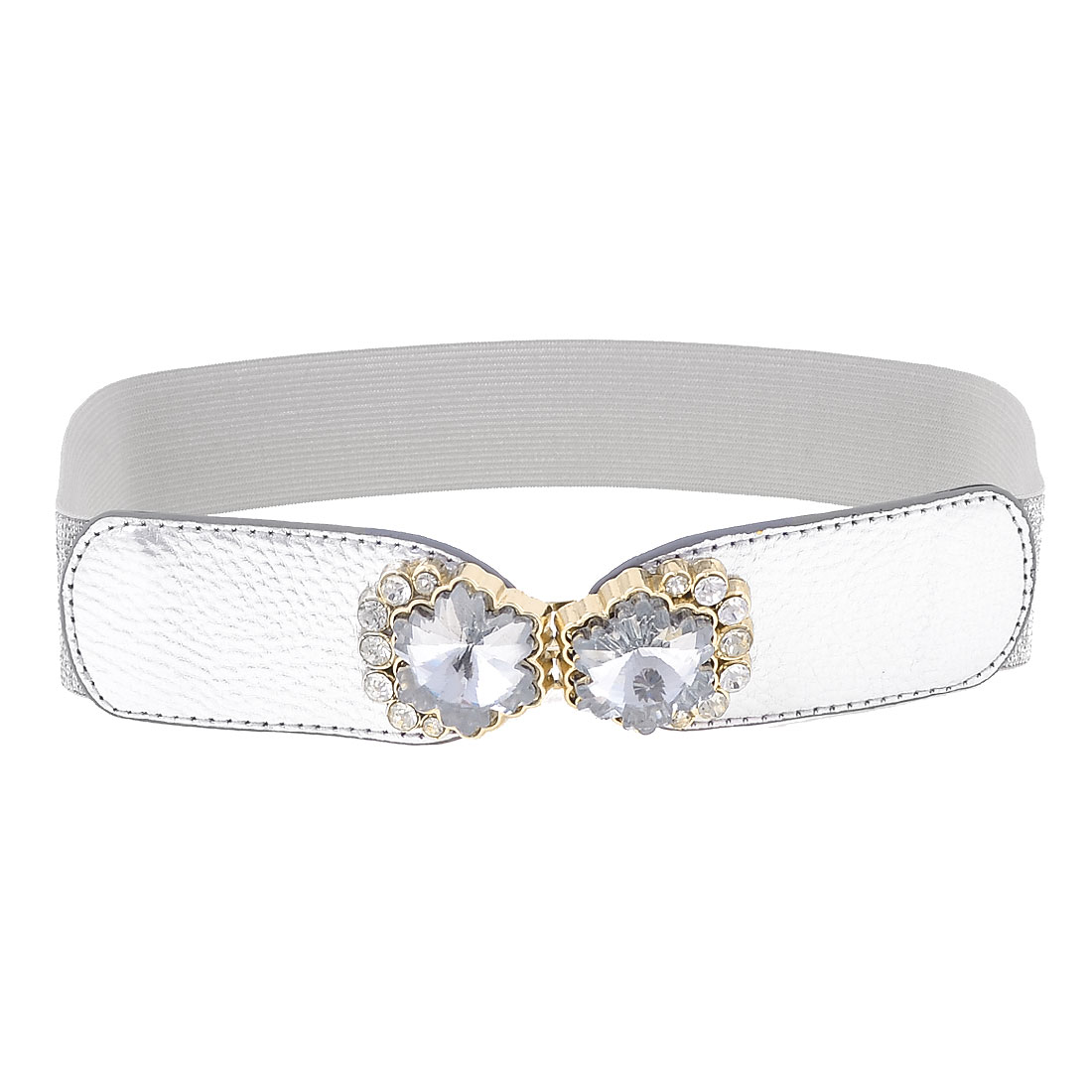 Rhinestone Interlock Buckle Stretchy Waist Belt Waistband 3.5CM Wide Silver Tone