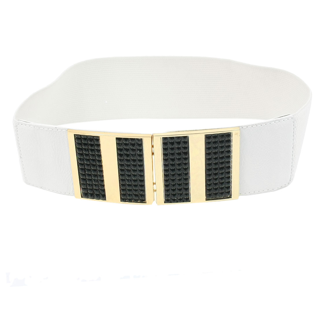 Lady Rectangular Design Interlocking Buckle Textured Elastic Waist Band White