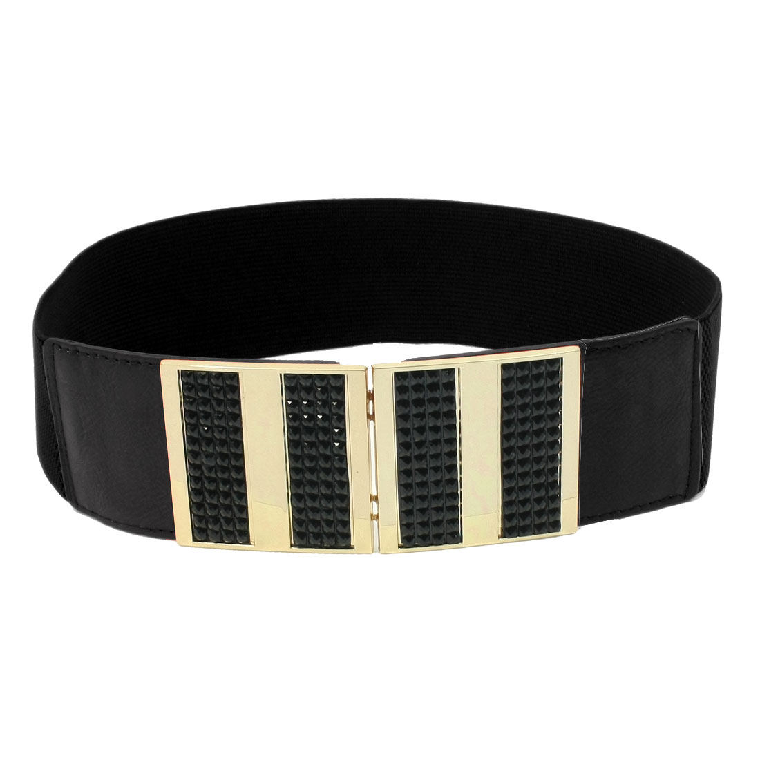 Woman Faceted Beads Accent Interlocking Buckle Stretch Waist Belt Band Black