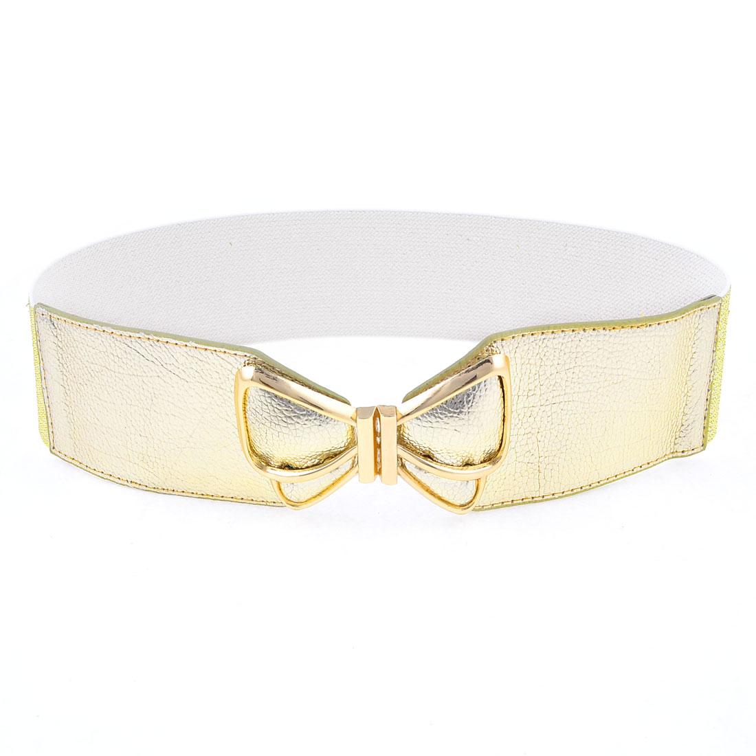 Woman Butterfly Detail Interlocking Buckle Glittery Elastic Waist Belt Gold Tone