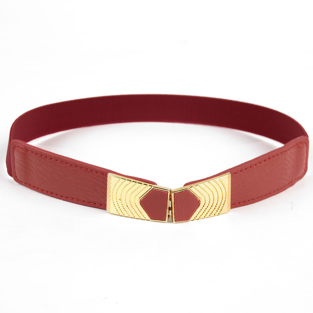 Lady Gold Tone Metal Interlocking Buckle Waistbelt Cinch Belt Red
