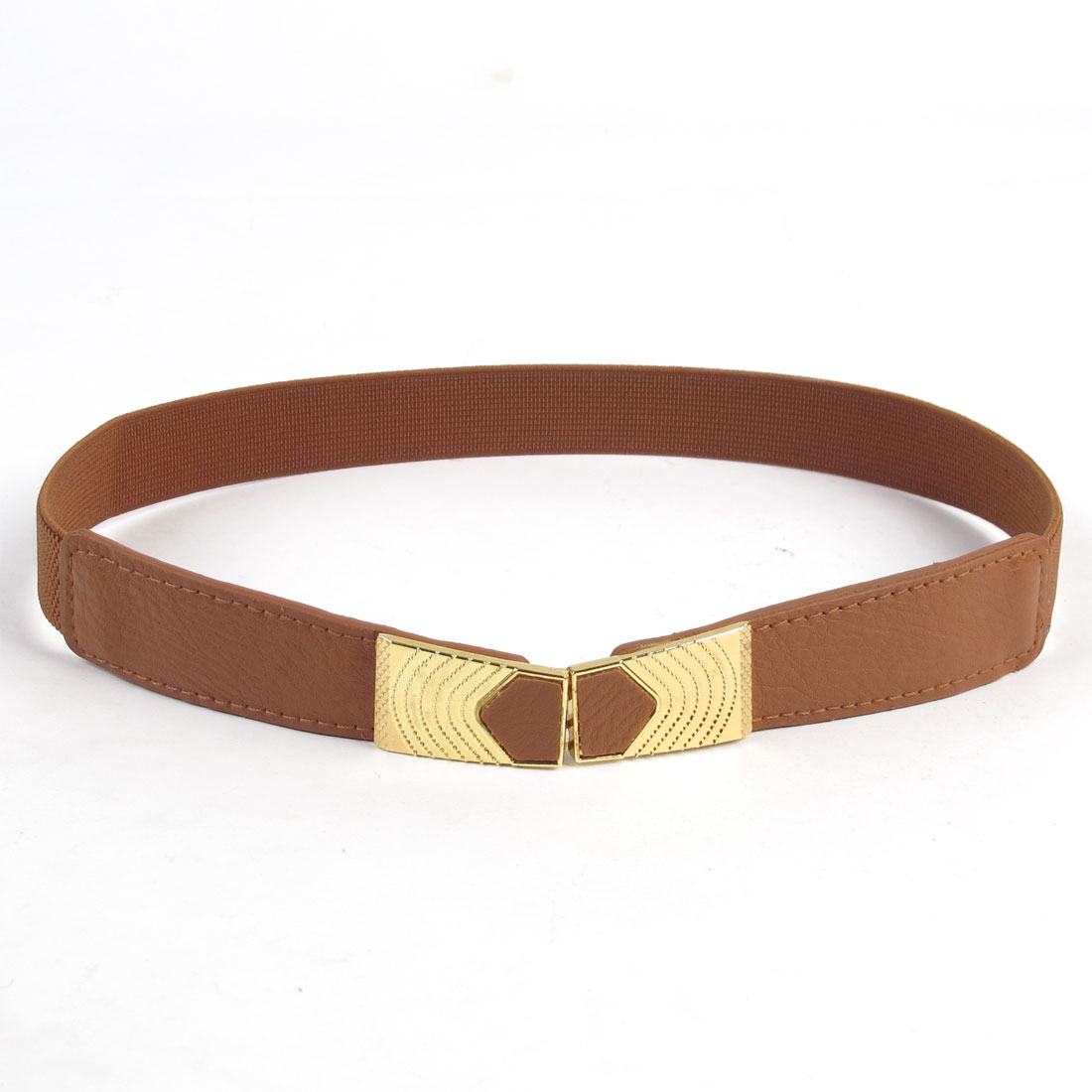 Lady Gold Tone Metal Interlocking Buckle Waistbelt Cinch Belt Brown
