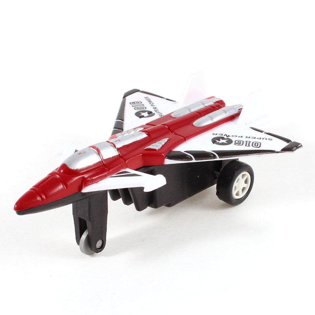 Red White Plastic Pull Back and Go Airplane Pane Model Toy for Children