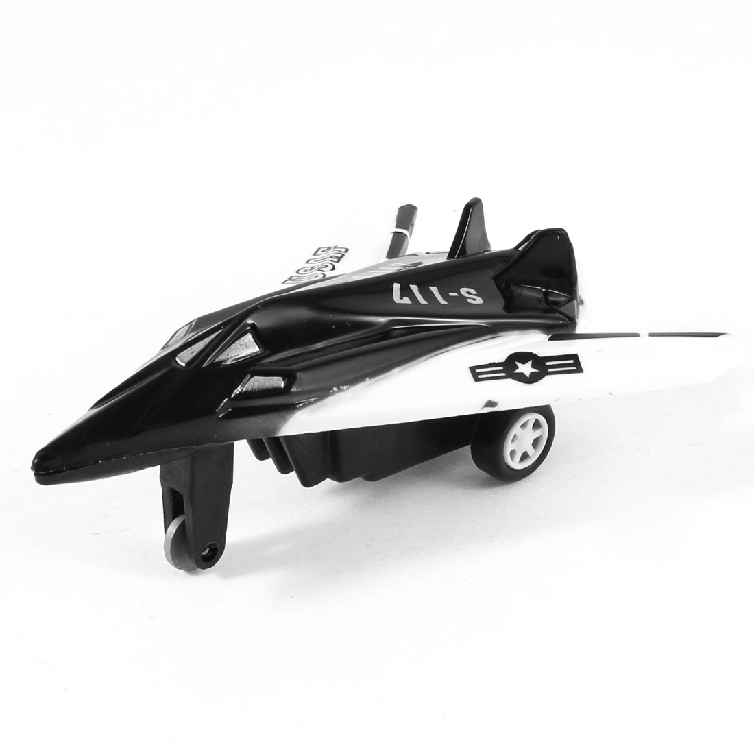 Black White Plastic Pull Back and Go Airplane Pane Model Toy for Children