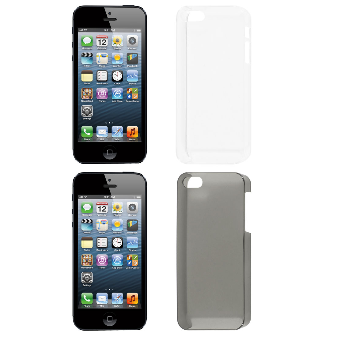 2 Pcs Dark Gray Clear Hard Back Case Cover for Apple iPhone 5 5G