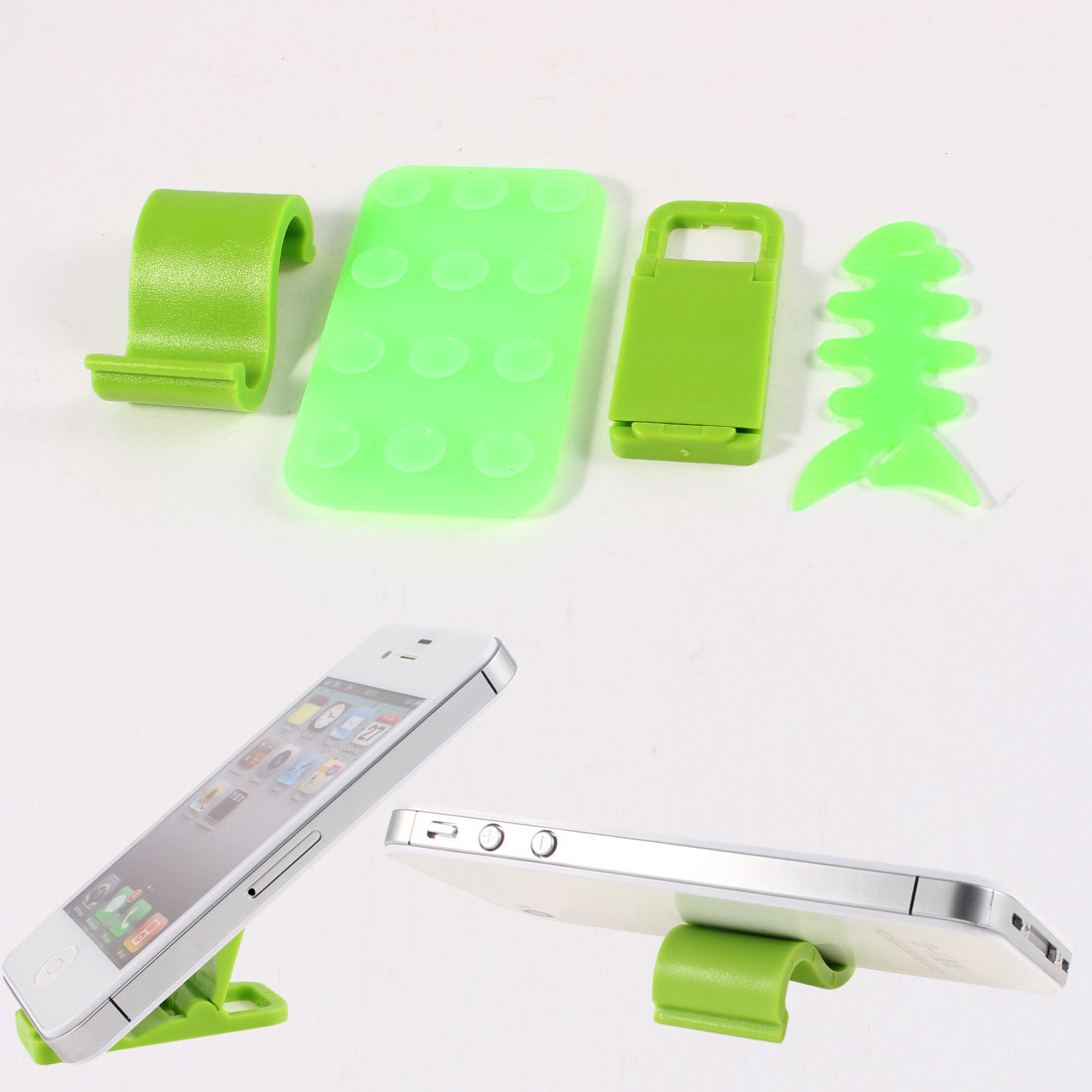 Phone Silicone Suction Cup Plastic S Shaped Stand Holder w Rubber Fishbone Cord Organizer Green 4 in 1