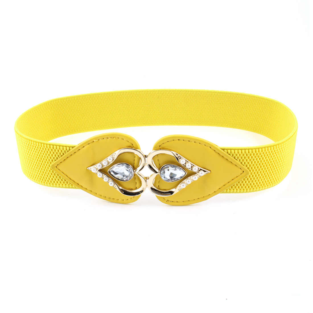 Lady Plastic Crystal Decor Interlocking Buckle Elastic Yellow Elastic Cinch Belt