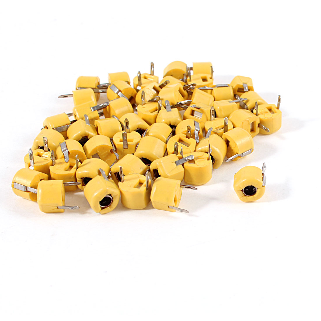 50 Pcs 6mm Through Hole Trimmer Variable Capacitors 40pF Yellow