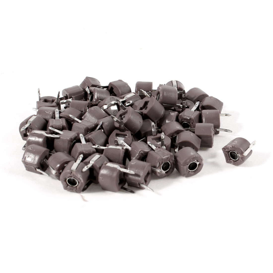 50 Pcs 6mm Through Hole Trimmer Variable Capacitors 60pF Rosy Brown