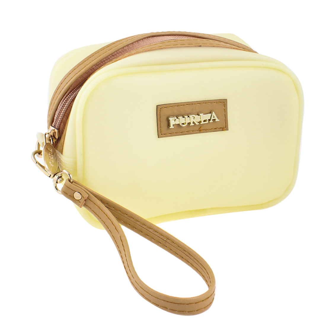 Lady Faux Leather Zip Up Make Up Cosmetic Bag w Removeable Strap Beige