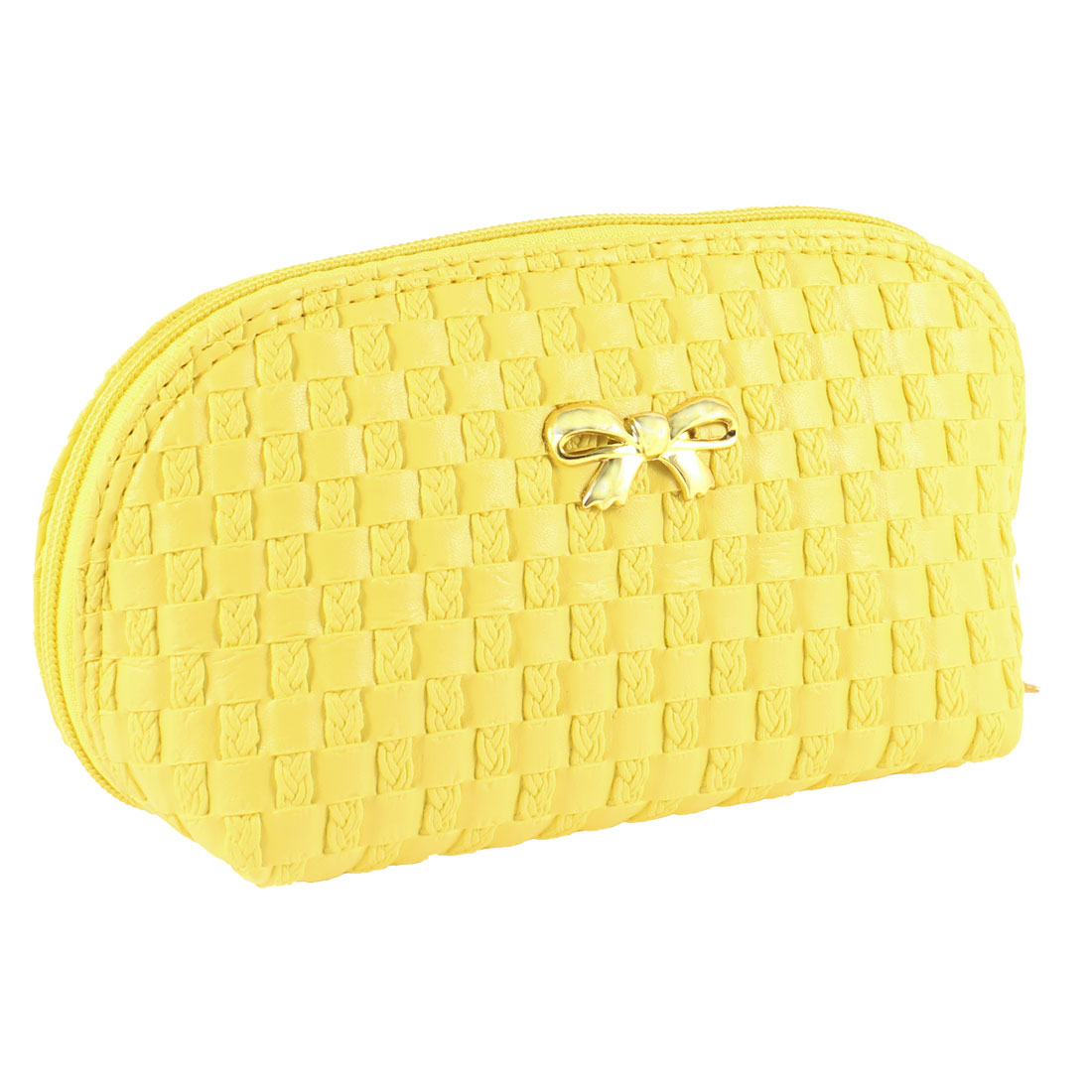 Ladies Bowknot Decor Front Check Pattern Cosmetic Zipper Bag Yellow