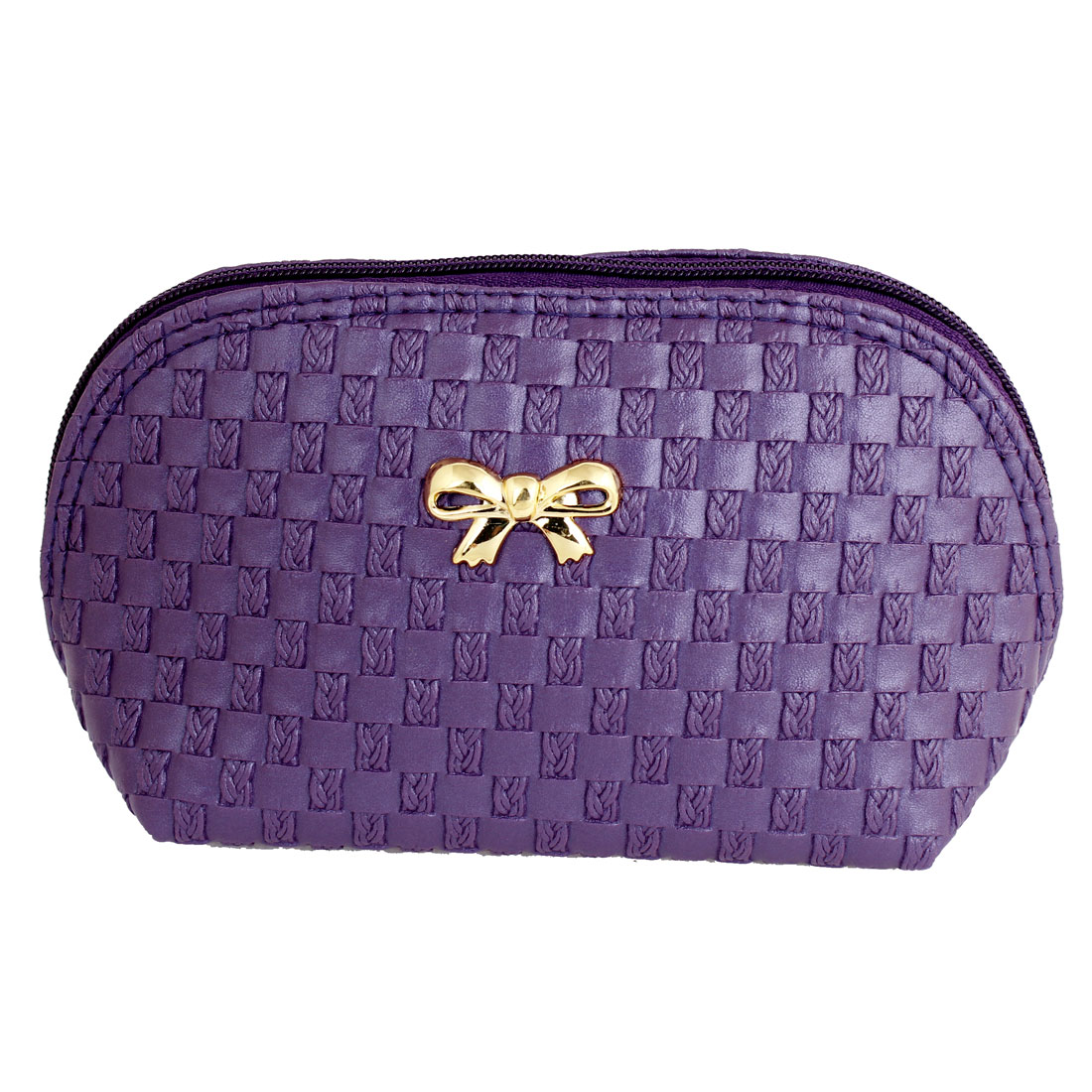 Woman Bowknot Decor Front Check Pattern Zipper Makeup Purse Purple